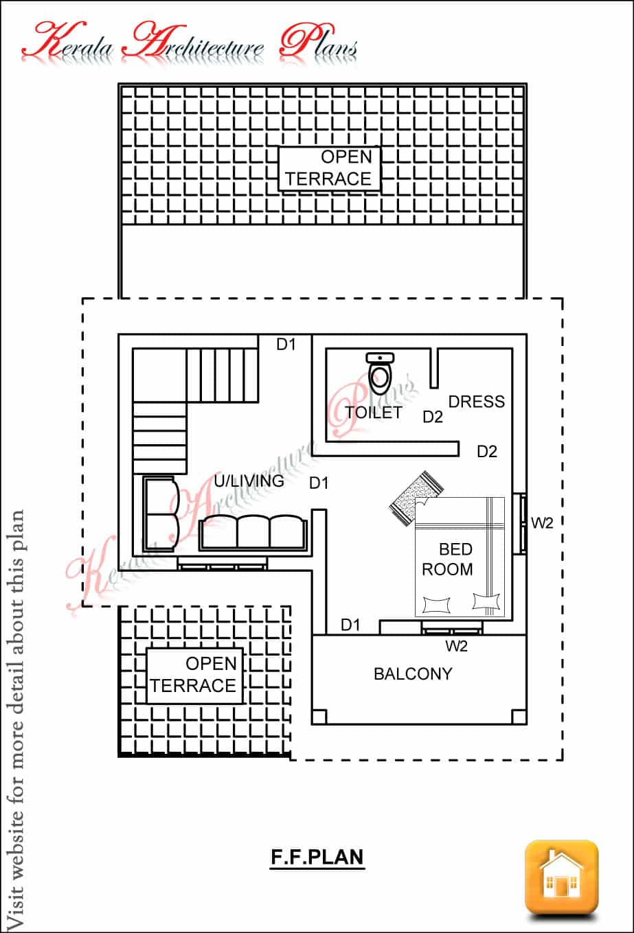 Kerala house plans 1200 sq ft with photos khp for Three bedroom house plans kerala style