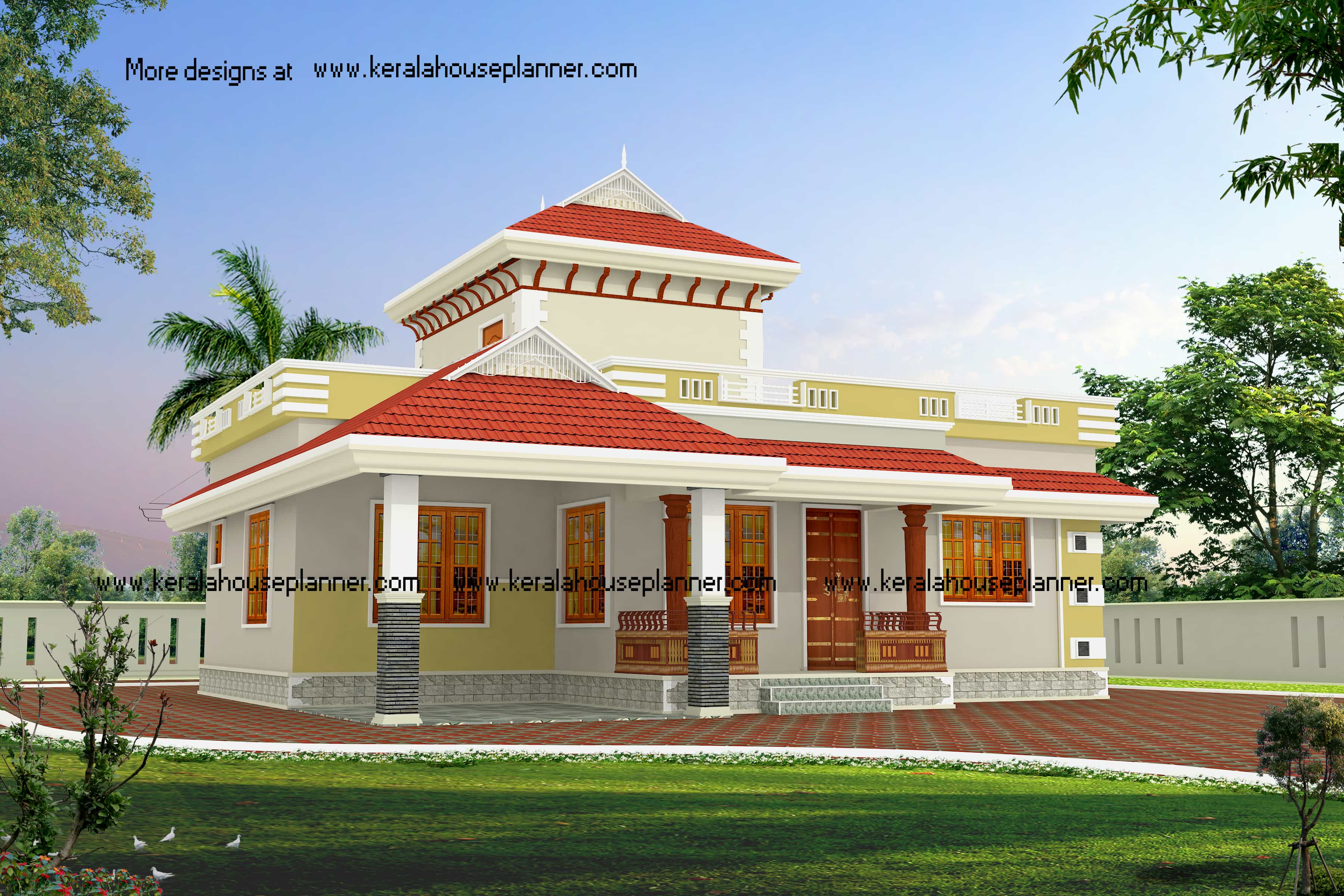 Low budget beautiful kerala house designs at 1195 for Beautiful kerala house plans