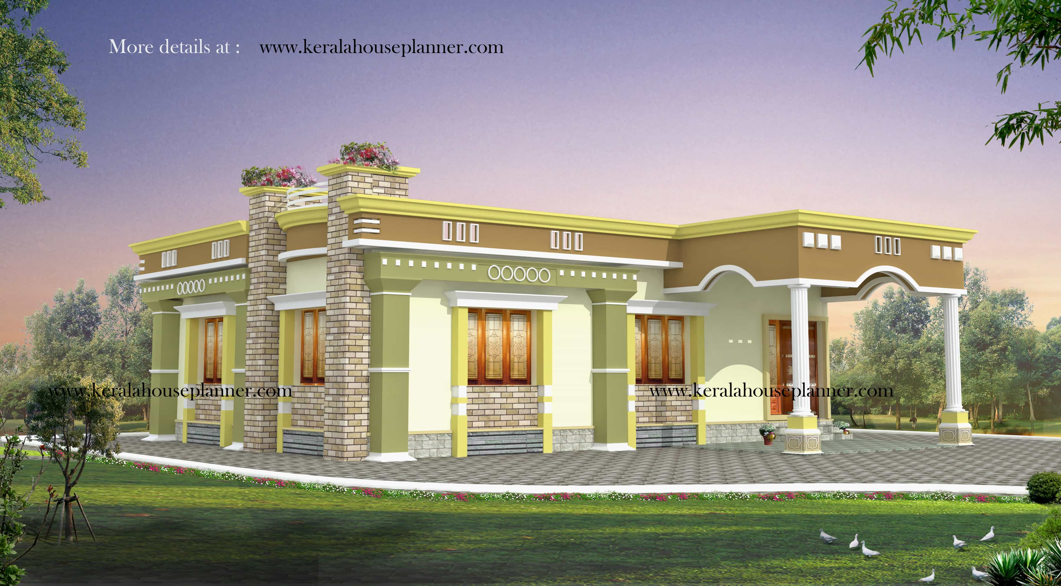 kerala house plans at 1200 sqft for a 2 bhk cute home - Single Floor House Plans 2