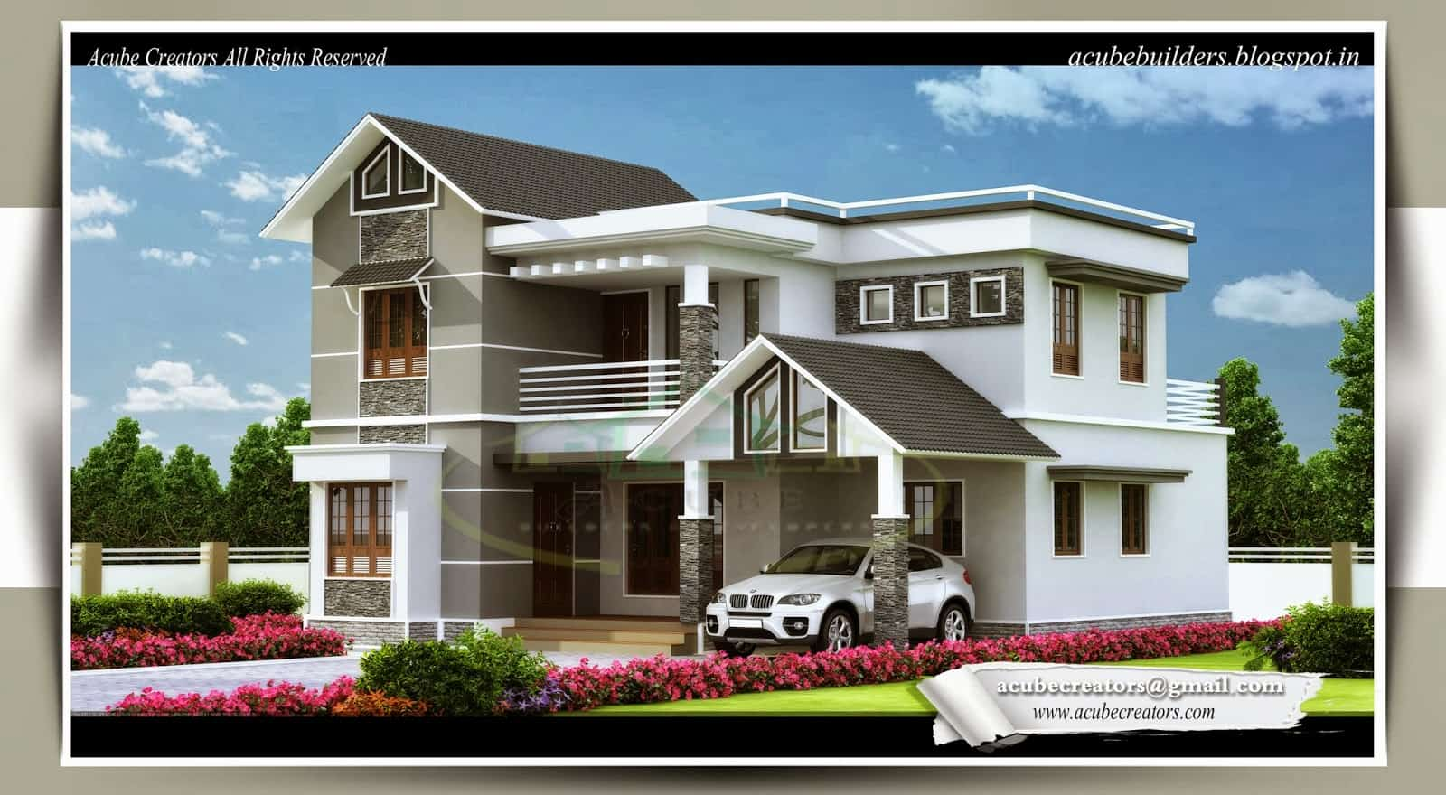 Kerala Home design for 4 Bedroom Villa at 1983 sq.ft