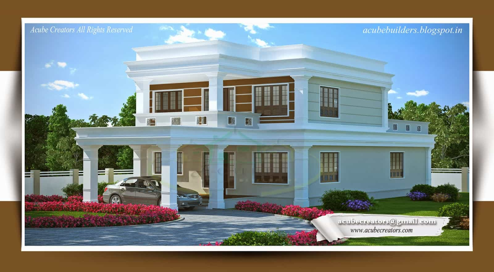 Flat Style Kerala home design at 3314 sq.ft