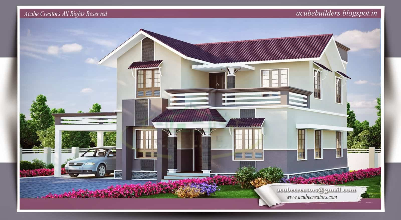 Kerala house plans with estimate for a 2900 home design for Beautiful villas images