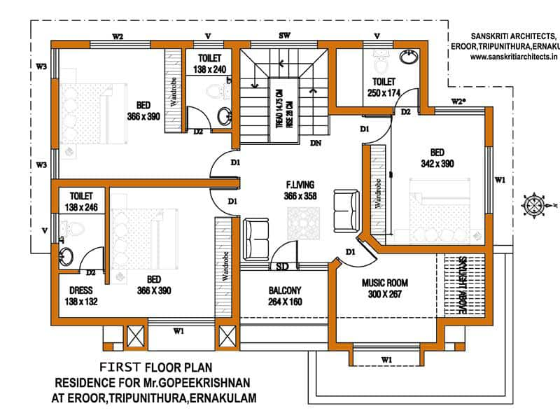 kerala home design first floor plan - Designs Of A House