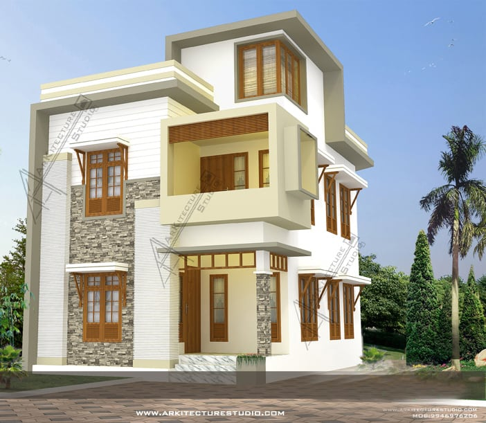 home designs double floor indian house plan contemporary kerala house designs at 1500 sqft