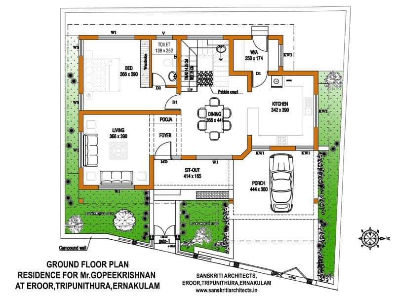 kerala home design image of ground floor - House Design Plans