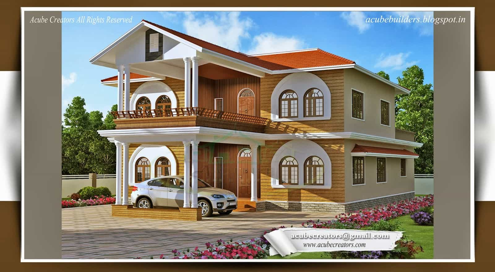Luxurious 4 bedroom kerala home design at 2821 for Four bedroom kerala house plans
