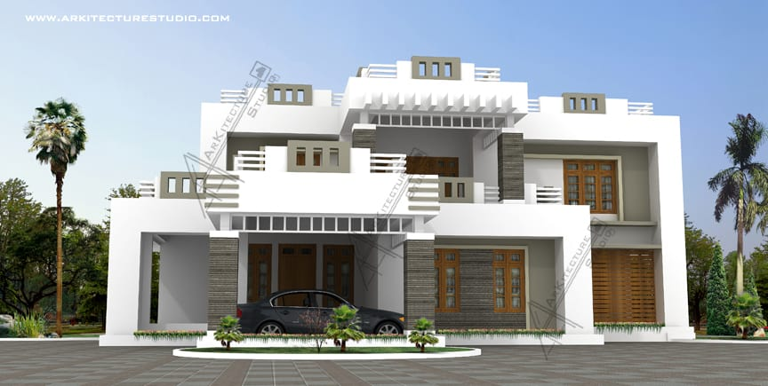 contemporary modern style kerala house design at 3600 sqft