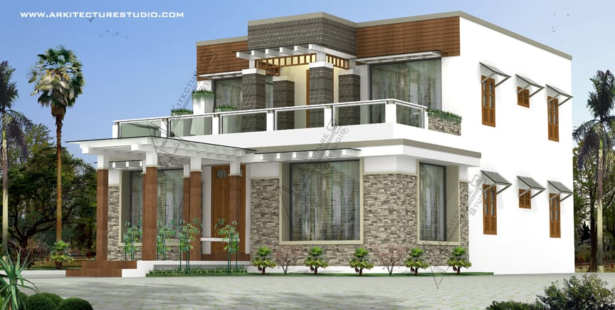 Kerala home design in contemporary style at 3200 sqft for Latest house designs