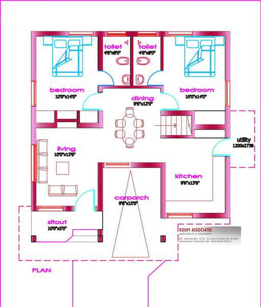 Small house plans in kerala 3 bedroom keralahouseplanner for Kerala model house plans 1000 sq ft