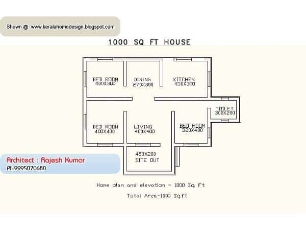 Small House Plans in Kerala - 3 Bedroom - KeralaHousePlanner