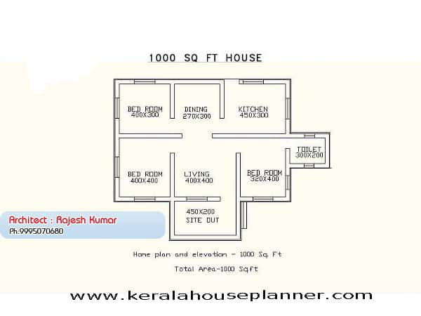 Small house plans in kerala 3 bedroom keralahouseplanner for Small house design 100 square feet
