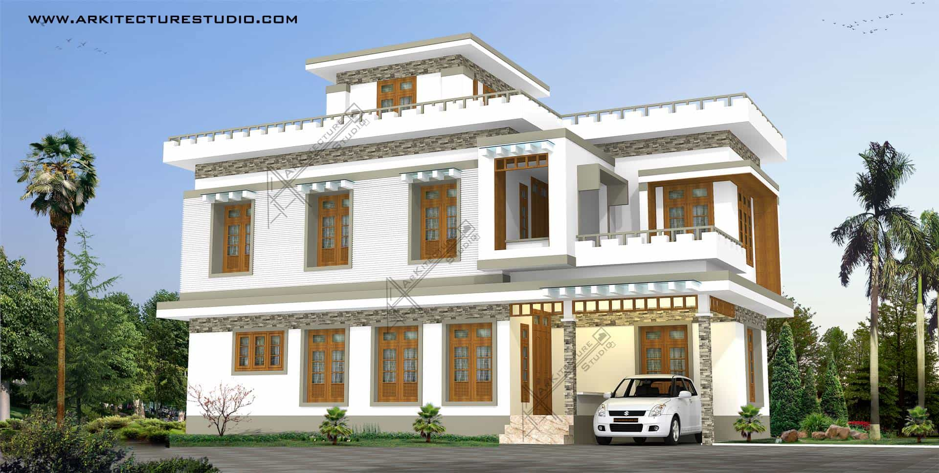 Kerala home design house plans indian budget models for Indian house portico models