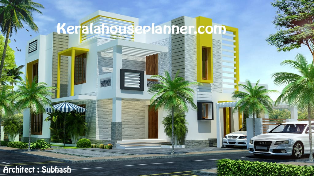 Front Elevation Of This Contemporary Home Design