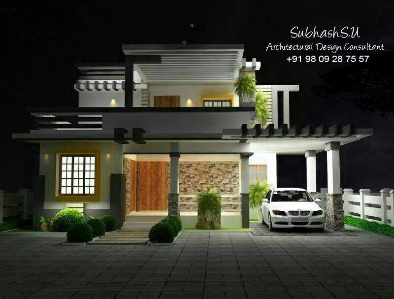 Front Elevation In Kerala : Indian modern house elevation plans