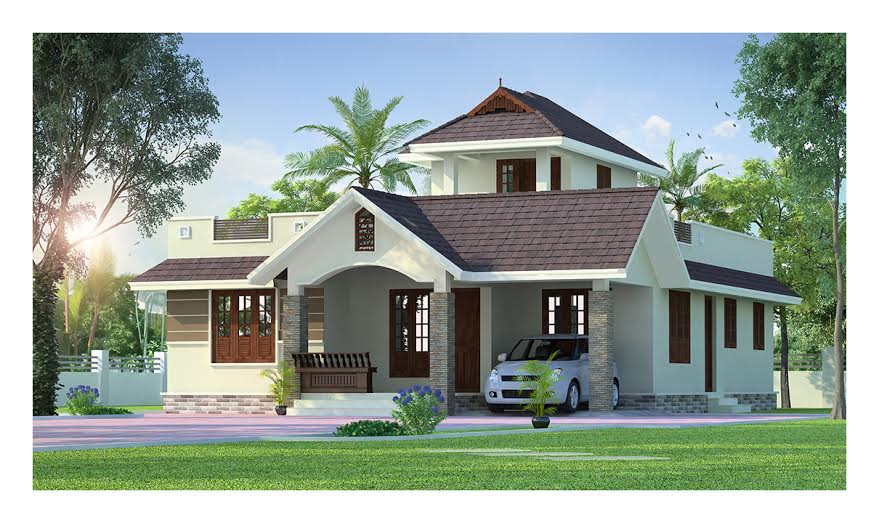 Kerala Style Low Cost Double Storied Home: Kerala Home Design & House Plans