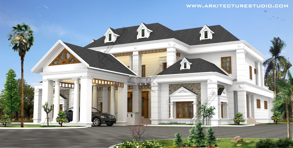 Kerala home design house plans indian budget models for Colonial style home design in kerala