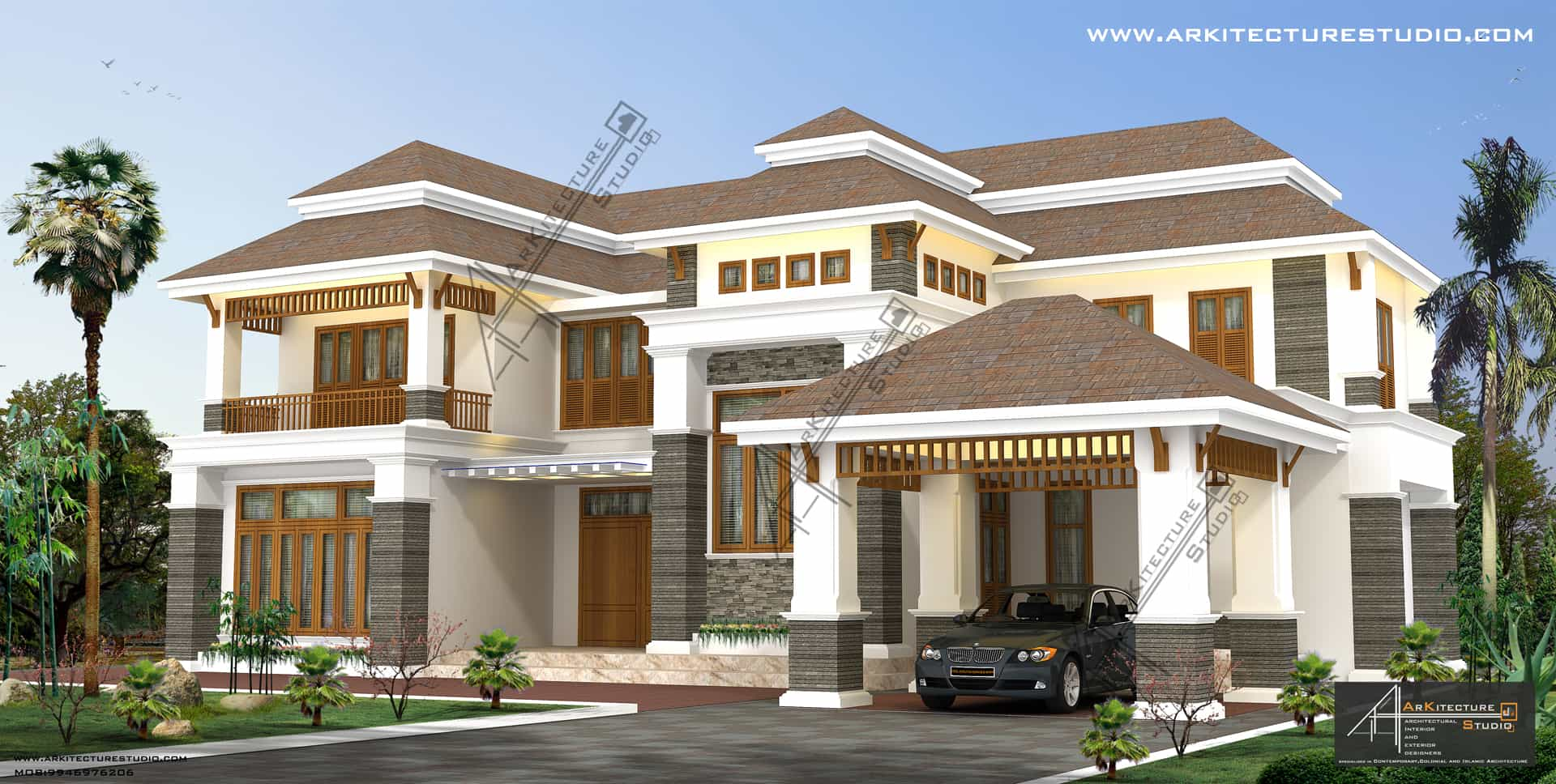 Colonial style house designs in kerala at 3500 sqft 5000 for Modern colonial house plans