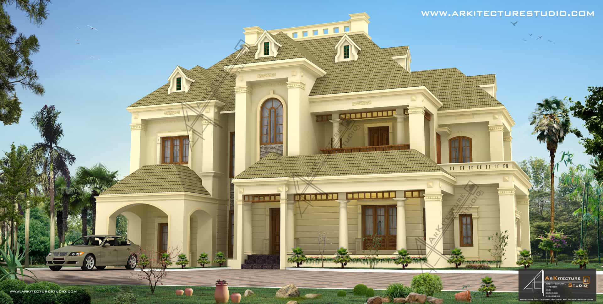 Colonial style house designs in kerala at 3500 sqft 5000 for Latest kerala style home designs