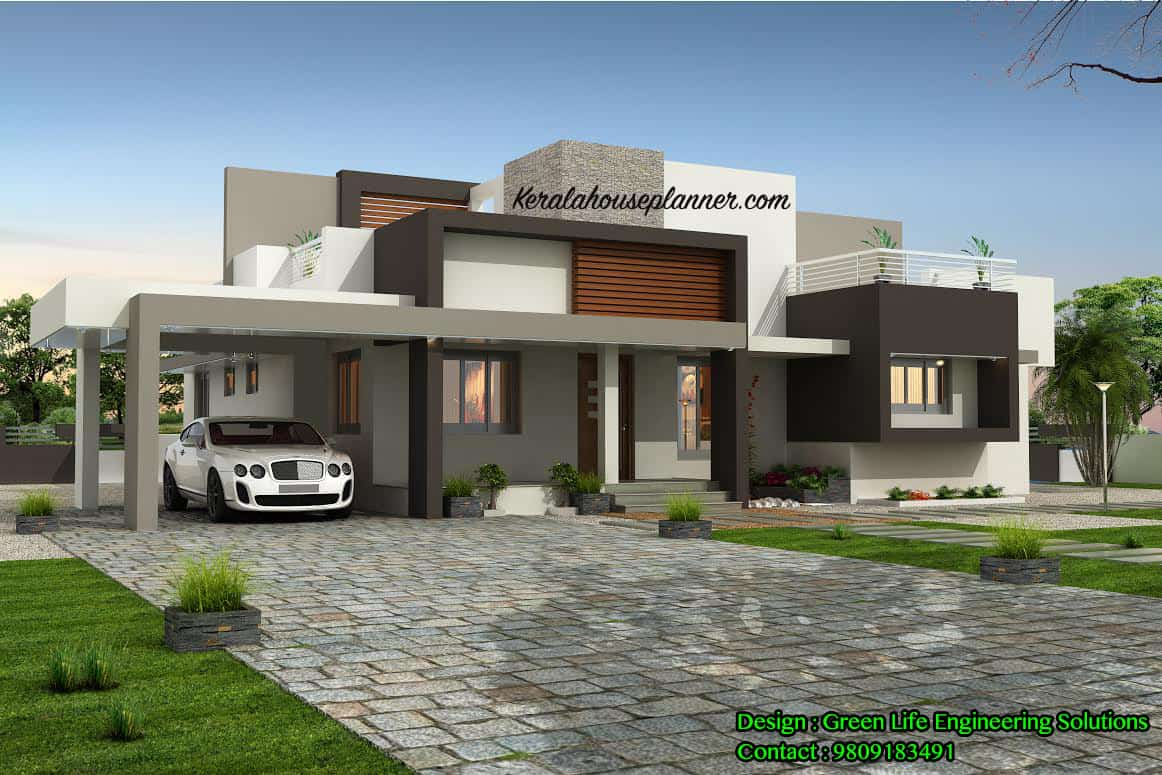Contemporary kerala house design at 1955 idukki for Modern design single storey homes