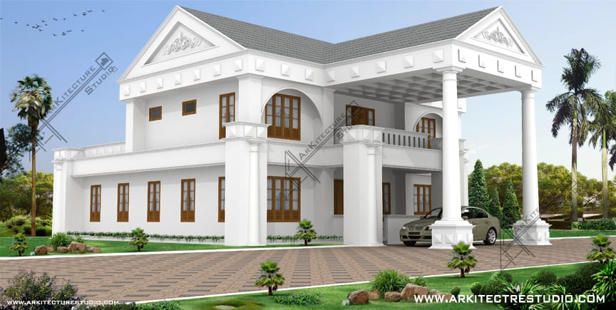 luxury kerala home colonial - Homes Design In India