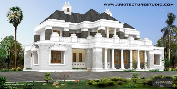 colonial style luxury home piller