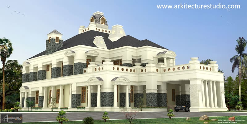 12 000 luxury indian house design colonial style for Colonial style house plans kerala