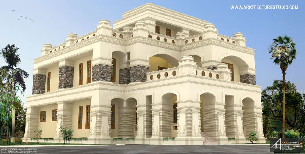Kerala home designs house plans elevations indian for Colonial luxury house plans