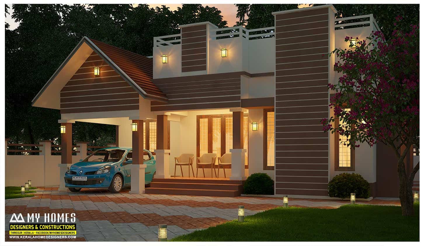 1000 sq ft modern single floor design 3 bhk home 135 lakhs - Modern House Designs Single Floor