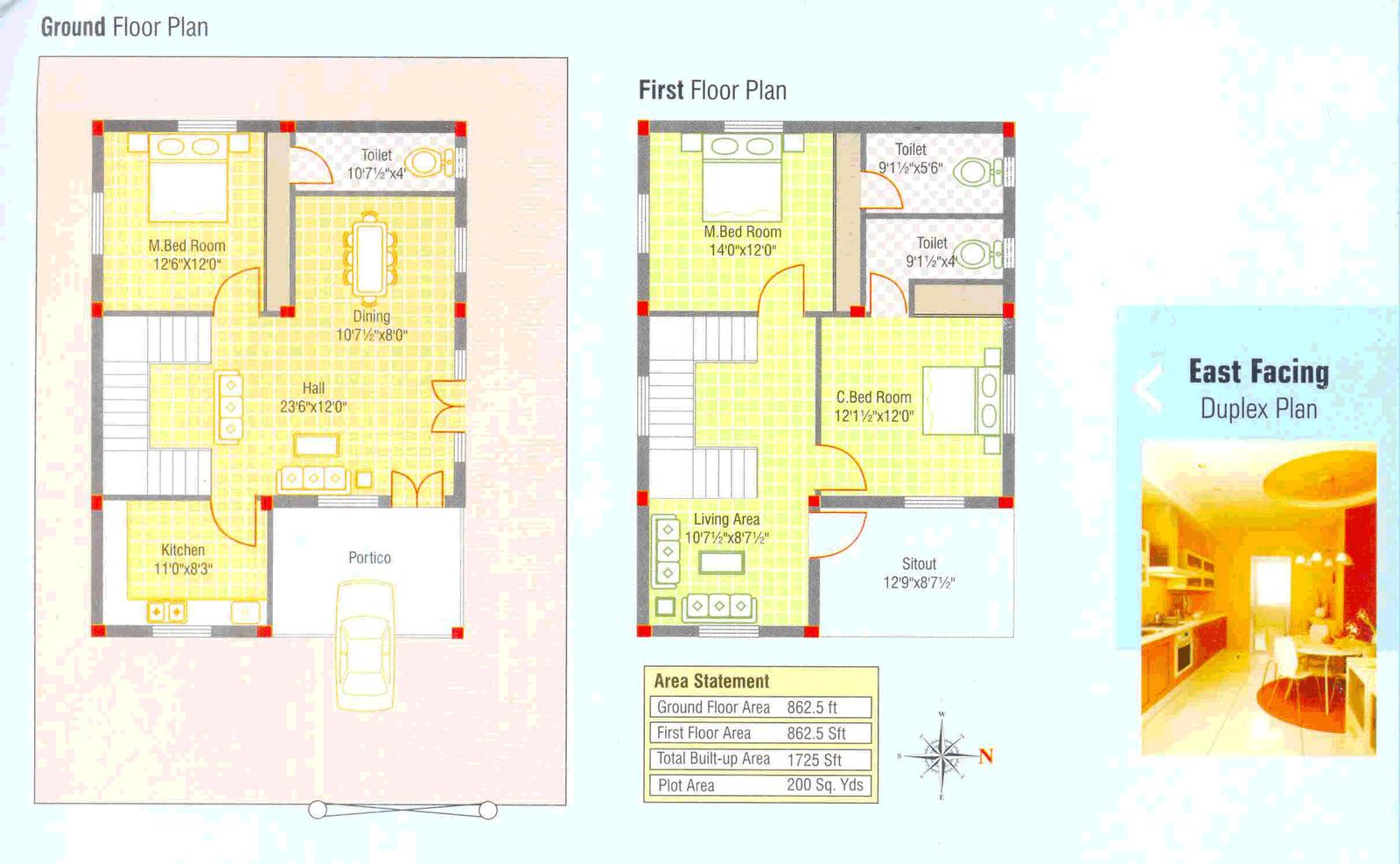 Kerala Latest Home plan at 1725 sq.ft