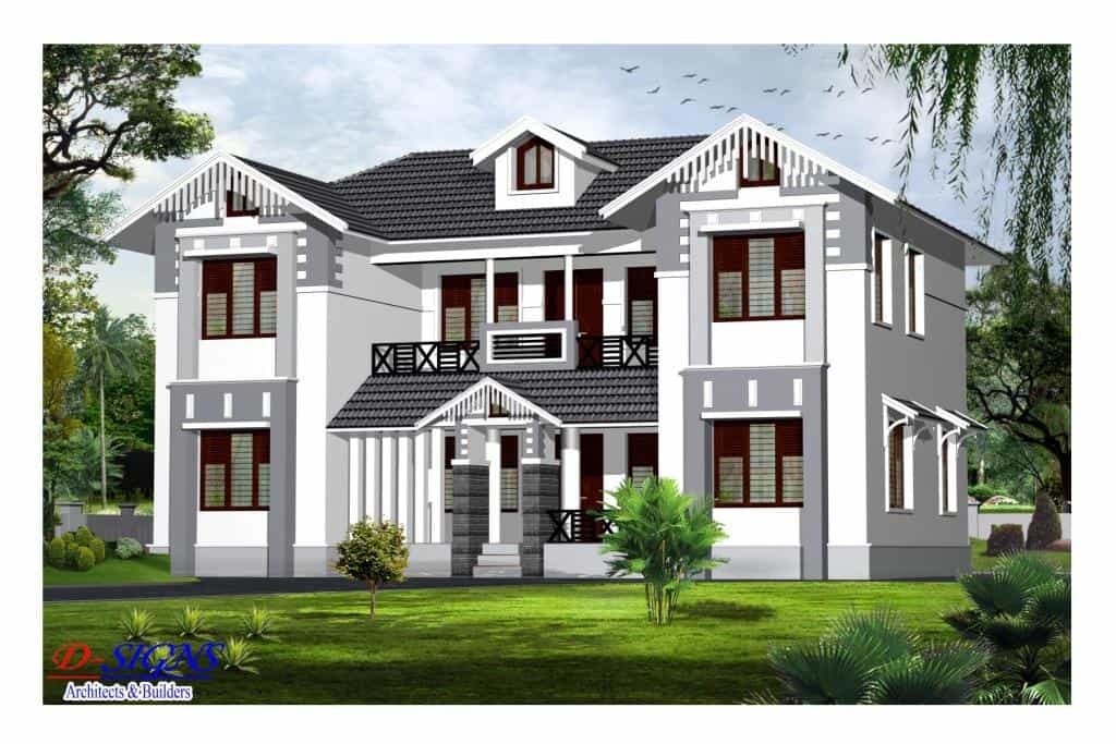 Good Kerala style exterior house elevation at 2385 sq.ft