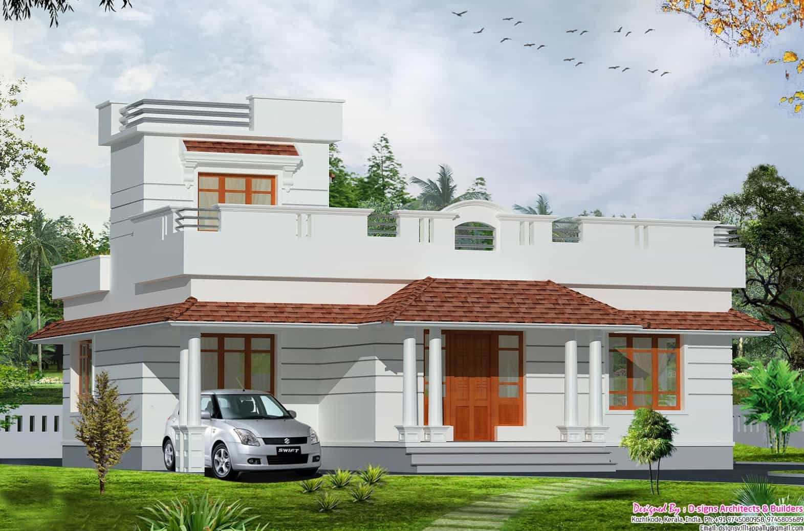 Single floor Kerala house elevation at 1200 sq.ft